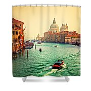 Venice Italy Grand Canal And Basilica Santa Maria Della Salute At Sunset Shower Curtain