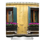 Venice Italy Teal Shutters Shower Curtain