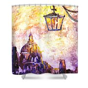 Venice Italy Watercolor Painting On Yupo Synthetic Paper Shower Curtain
