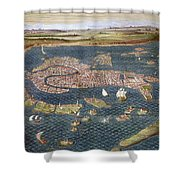 Venice: Map, 16th Century Shower Curtain