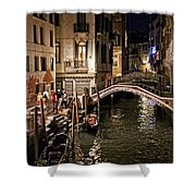 Venice Night By The Canal Shower Curtain