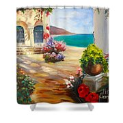 Venice Villa Shower Curtain by Jenny Lee