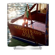 Venice Water Authority Boat Shower Curtain