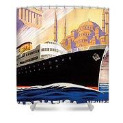 Venise Vintage Travel Poster Shower Curtain