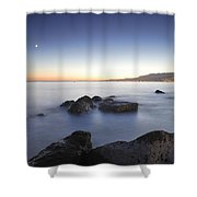 Venus And The Moon Over The Mediterranean Sea Shower Curtain