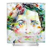 Vera Brittain - Watercolor Portrait Shower Curtain