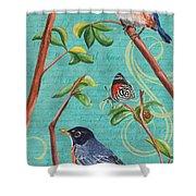 Verdigris Songbirds 1 Shower Curtain