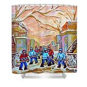Verdun Back Lane Hockey Practice Montreal Winter City Scen Painting Carole Spandau Shower Curtain