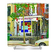 Verdun City Life Bike On Balcony Above Favorite Depanneur Montreal Stairs Summer Scenes Cspandau Shower Curtain