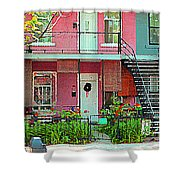 Verdun Flower Boxes Pink House Fenced Front Garden Red Flowers Staircase Scenes Carole Spandau Shower Curtain