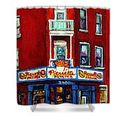 Verdun Landmarks Pierrette Patates Resto Cafe  Deli Hot Dog Joint- Historic Marquees -montreal Scene Shower Curtain