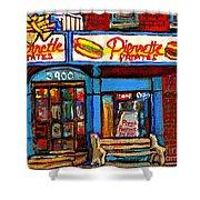 Verdun Restaurants Pierrette Patates Pizza Poutine Pepsi Cola Corner Cafe Depanneur - Montreal Scene Shower Curtain