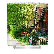 Verdun Stairs Red Flowers On Winding Staircase Tall Shade Tree Montreal Summer Scenes Carole Spandau Shower Curtain