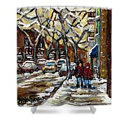 Verdun Winter Row Houses In January Montreal Paintings Time For A Walk Carole Spandau Shower Curtain