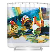 Veridian Chicken Shower Curtain