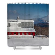 Vermont Barn In Snow With Mountain Behind Shower Curtain