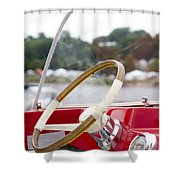 Vermont Boat Docked Shower Curtain