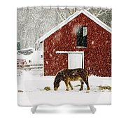 Vermont Christmas Eve Snowstorm Shower Curtain