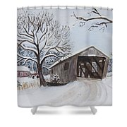 Vermont Covered Bridge In Winter Shower Curtain
