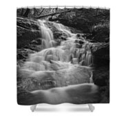 Vermont Forest Waterfall Black And White Shower Curtain