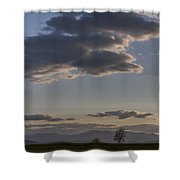 Vermont Grass Field Trees Clouds Adirondack Mountains New York Shower Curtain