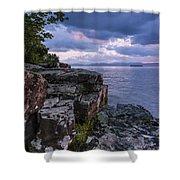 Vermont Lake Champlain Sunset Clouds Shoreline Shower Curtain