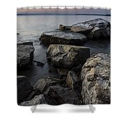 Vermont Lake Champlain Sunset Cloudscape Rocks Shower Curtain