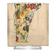 Vermont Map Vintage Watercolor Shower Curtain