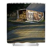 Vermont Maple Sugar Shack Sunset Shower Curtain by Edward Fielding
