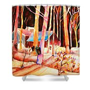 Vermont Maple Syrup Shower Curtain by Carole Spandau
