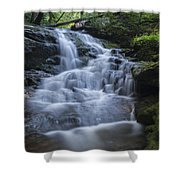Vermont New England Waterfall Green Trees Forest Shower Curtain