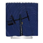 Vermont Night Sky Skiing Star Trails Shower Curtain