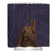 Vermont Night Star Trail Wood Pier Shower Curtain