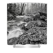 Vermont River Fog Mount Mansfield Black And White Shower Curtain