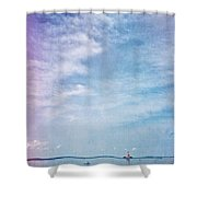 Vermont Summer Beach Boats Clouds Shower Curtain