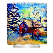 Vermont Winterscene In Blues By Montreal Streetscene Artist Carole Spandau Shower Curtain
