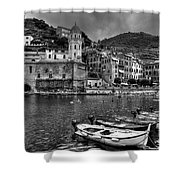 Vernazza - Cinque Terre In Grey Shower Curtain