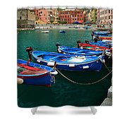 Vernazza Boats Shower Curtain by Inge Johnsson