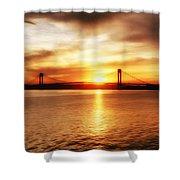Verrazano Bridge At Sunset Shower Curtain