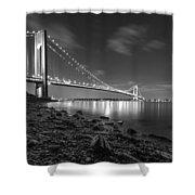 Verrazano-narrows Bridge Bw Shower Curtain