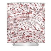 Vertical Panoramic Grunge Etching Burgundy Color Shower Curtain