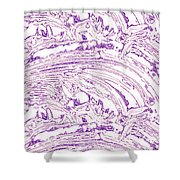 Vertical Panoramic Grunge Etching Purple Color Shower Curtain