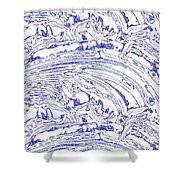 Vertical Panoramic Grunge Etching Royal Blue Color Shower Curtain
