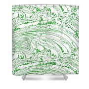 Vertical Panoramic Grunge Etching Sage Color Shower Curtain