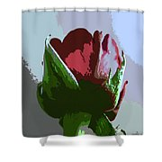 Vertical Rose Painting Style Shower Curtain