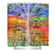Vertical Space Shower Curtain