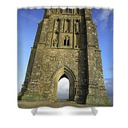 Vertical View Of Glastonbury Tor Shower Curtain