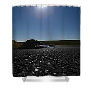 Very Hard Tarmac - Boeing 787 Shower Curtain by Marcello Cicchini
