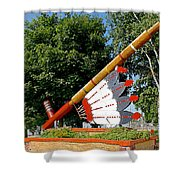 Very Large Pipestone Pipe Sculpture By Former Rock Island Line Railroad Depot In Pipestone-minnesota Shower Curtain