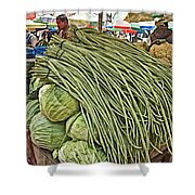 Very Long String Beans In Mangal Bazaar In Patan-nepal Shower Curtain